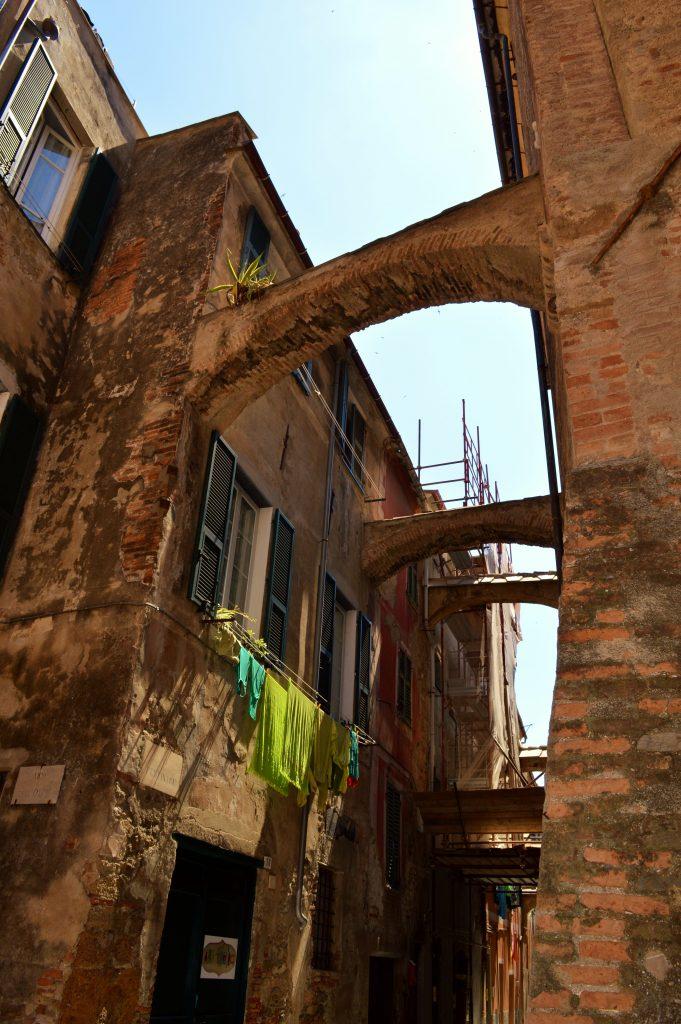 archways in Albenga, Italy