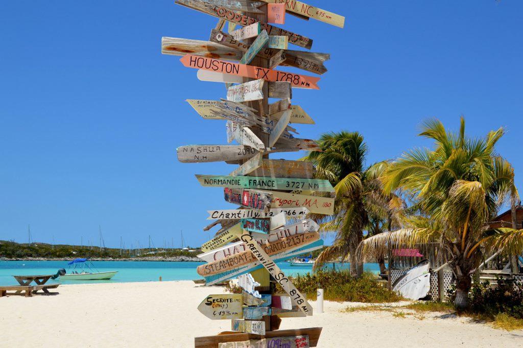Directional sign on the beach bahamas