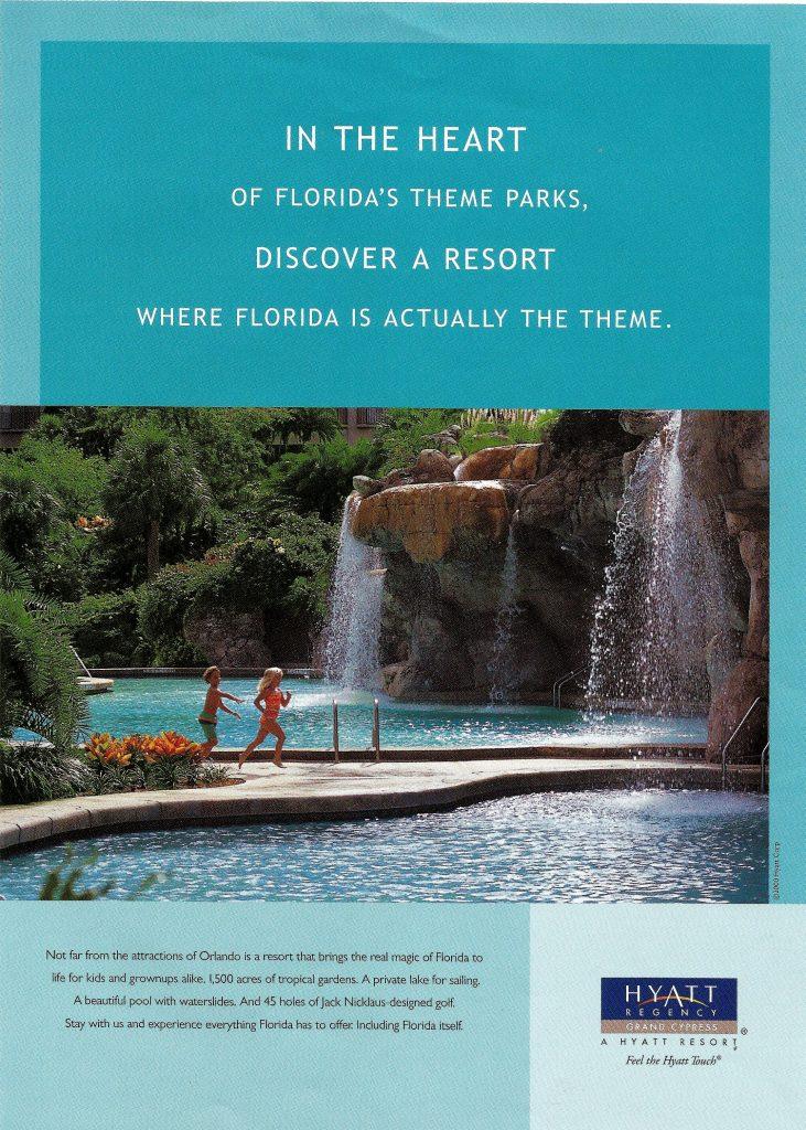 Advertising photoshoot at Hyatt Regency Grand Cypress for submission in Conde Nast Traveler magazine