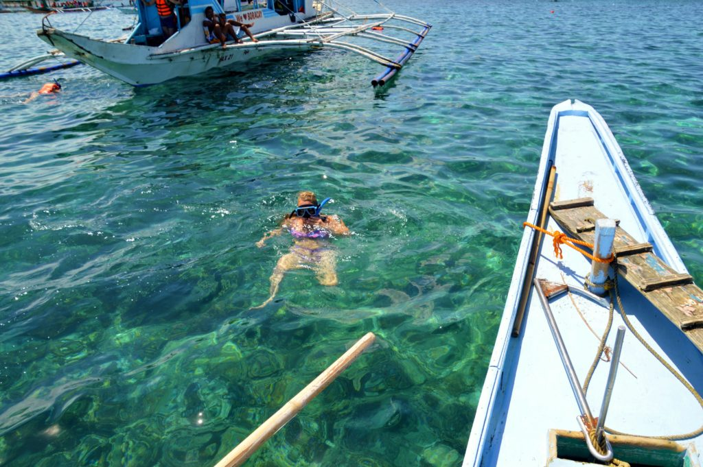 Rent a boat Boracay style - Taking a snorkeling break