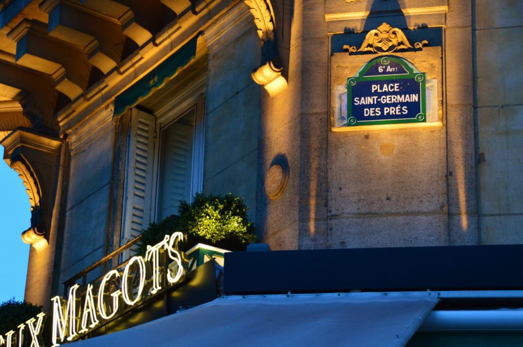 Les Deux Magots in the best arrondissement in Paris, the 6th