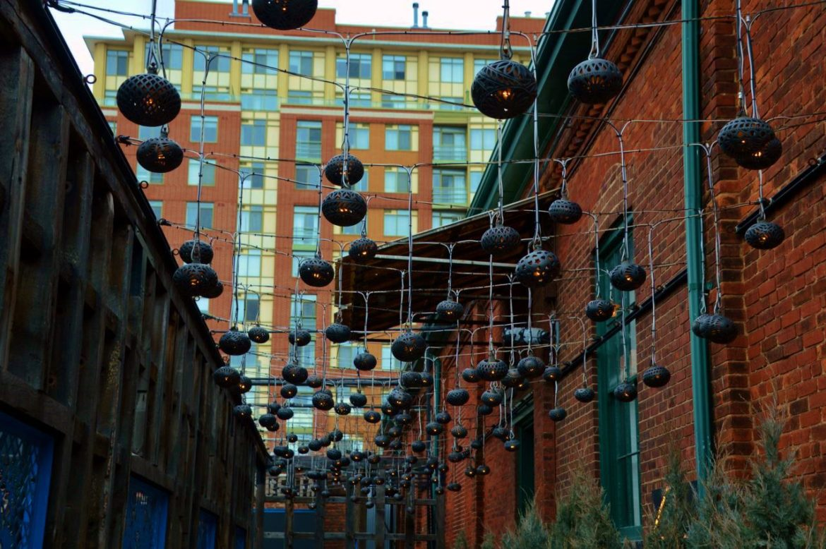 Ceramic Lanterns in El Catrin Restaurant Alley in Distillery District Toronto