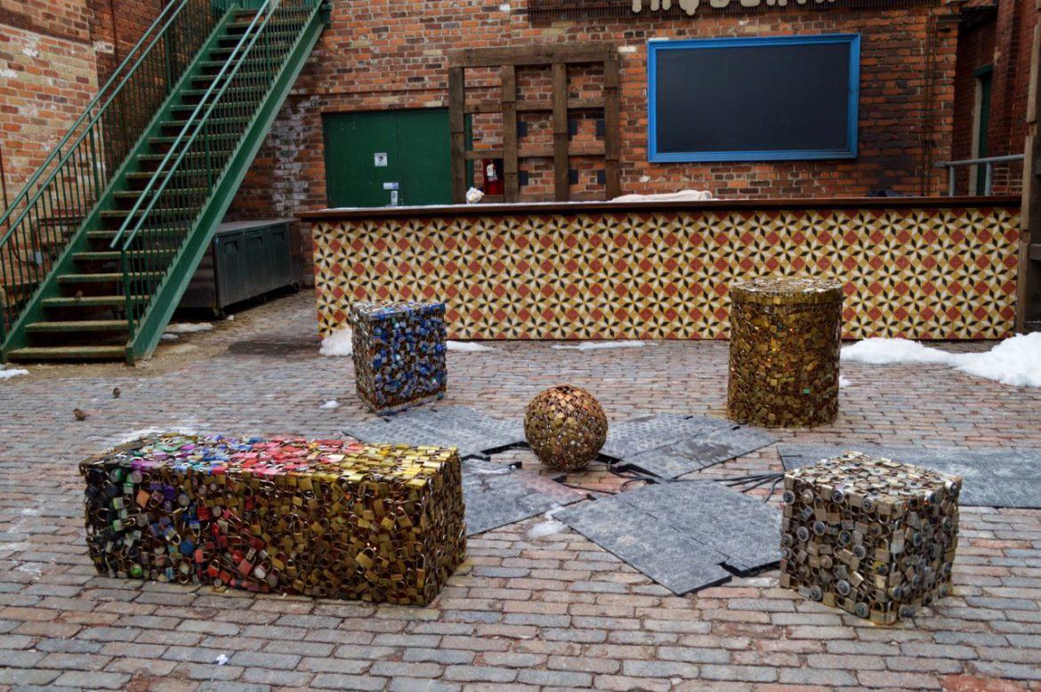 Moulded locks art display - Distillery District Toronto