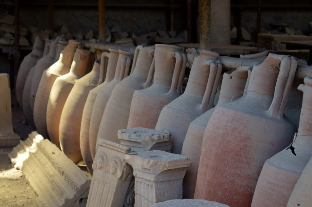 Well preserved ceramic pots Pompeii