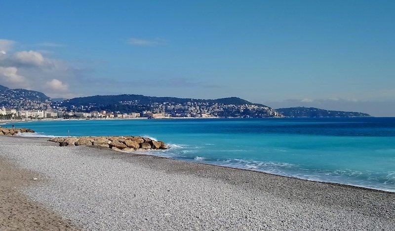 Beach in Nice France in winter
