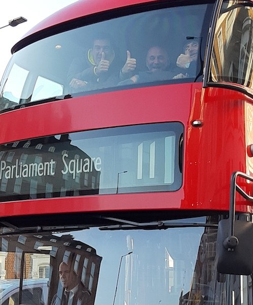 Riders on the Number 11 bus in London