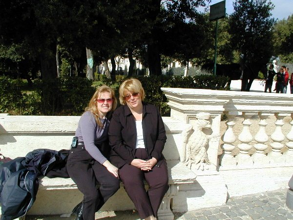 me and a friend in Borghese Gardens in Rome